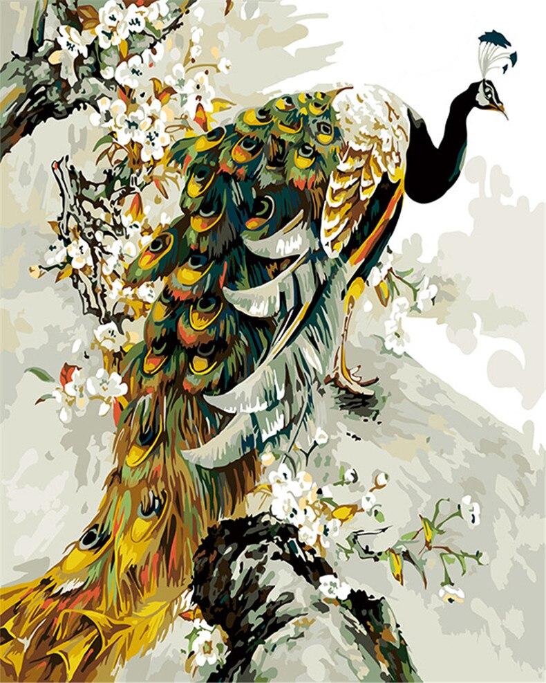 Peacock Flying Bird Swan Diy Handpainted Oil Painting Digital