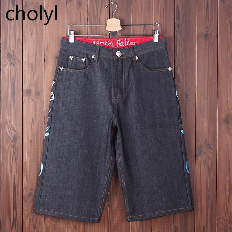 NEW 2017 Men Loose Jeans HIP HOP Skateboard short Jeans Mens Fashion trousers Size 30-44 Big pockets cholyl