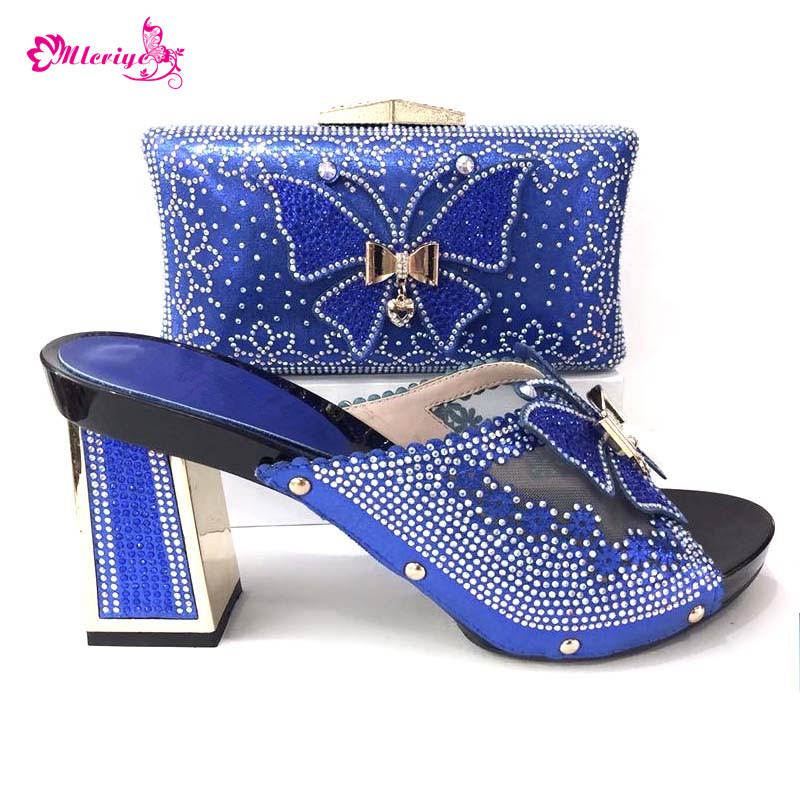 r.blue New Arrival African Shoe and Bags Women Nigerian Women Wedding Shoes and Bag Set Decorated with Appliques Party Shoe new arrival african women matching italian shoe and bag set decorated with appliques nigerian shoes and bag bch 27