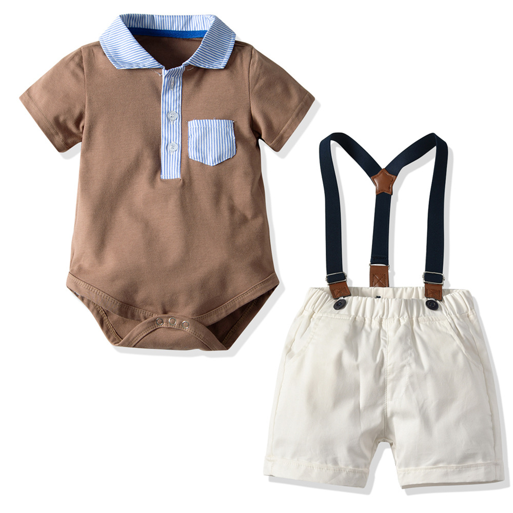 2pcs Summer Gentleman Outfit Sets Short Sleeve Romper With Shorts Baby Set School Clothes For Children