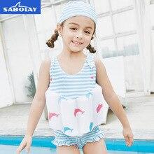 SABOLAY Children Buoyancy Swimsuit One-Piece Bowknot Baby Girls Swimwear Bathing Suit Bikini Swim Diaper Vest Floating Clothes цена