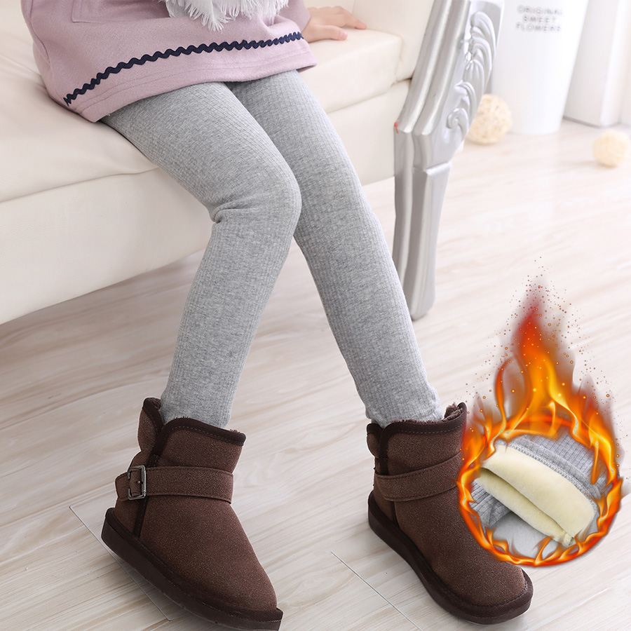 Lint Winter Girls Leggings Super Thicken Warm Girl Pants Kids Pants Elastic Waist Legging Barn Kläder Byxor 2-7 Y