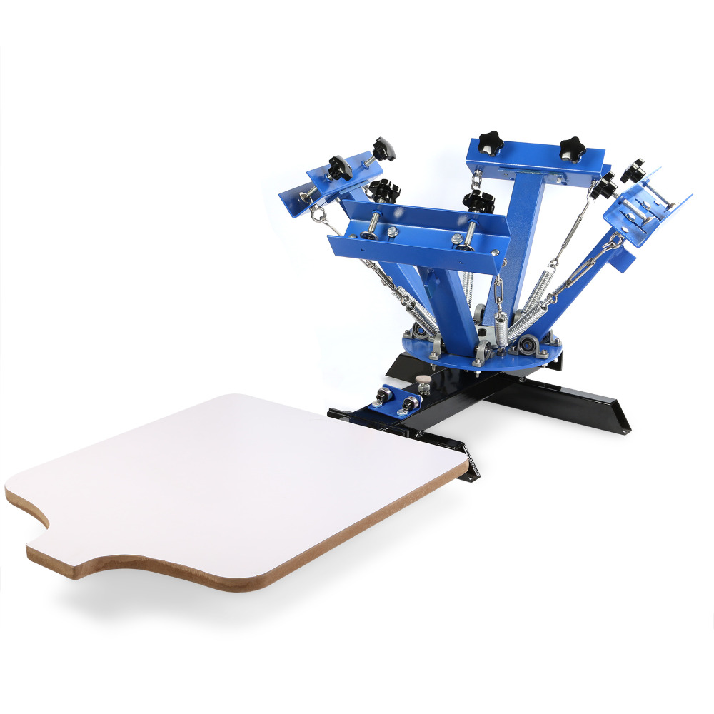 Happybuy Screen Printing Machine Press 4 Color 1 Station Silk Screen Printing Machine Adjustable Double Spring Devices automatic balloon printing machine balloons silk printing machine balloons serigraphy machine