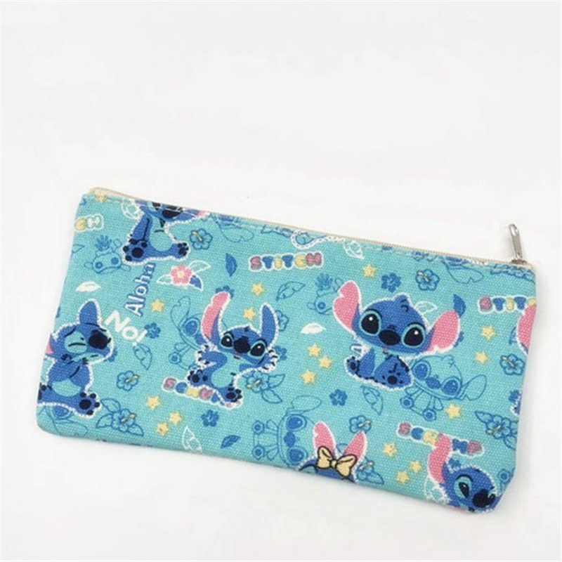 Disney New Cute Cartoon Stitch Pattern Cosmetic Cases Casual Student Boy Girl Canvas Sundries Storage Cosmetic Bag