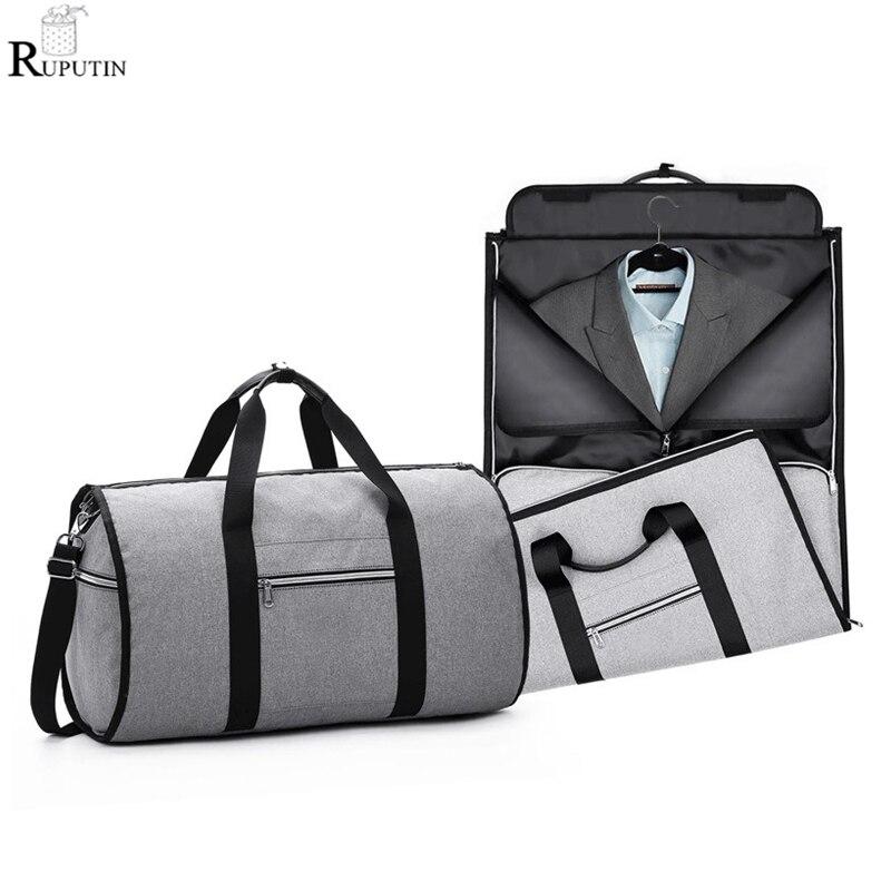 Saco De Armazenamento Terno de Luxo portátil 2 em 1 Busines Viagem Duffel Bag Bolsa de Ombro Bolsa de Viagem de Roupas de Vestuário dos homens saco da bagagem