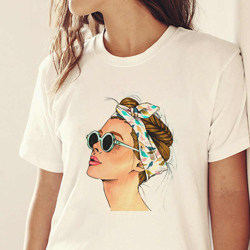 2019 Summer Vogue Girl Print Women T Shirt Casual Short Sleeve O-neck Female T-shirt Harajuku Fashion White Tee Shirt Femme Tops