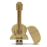 Estilo de guitarra de Bordo de Madeira USB 2.0 Flash Drives Memory Stick Pen U Disk Pendrive de Alta Velocidade para Laptops Notebook