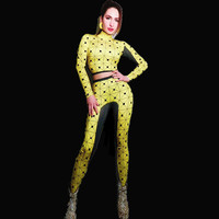 Fashion Black Dots Printed Jumpsuit Cute Yellow Stretch Rompers Sexy Costume Nightclub Show Celebrate Bodysuit Stage Wear