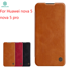 For Huawei Nova 5 pro Case Cover NILLKIN PU Leather Flip Phone