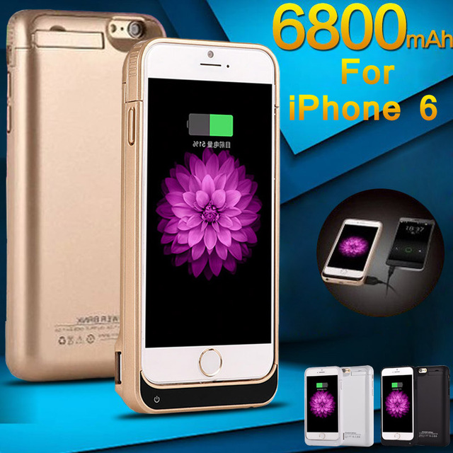 6800/8200mAh Rechargeable External Power Bank Battery Backup Charger Case Cover Pack for iPhone 6 6plus 6s Plus with glass film