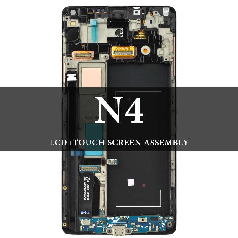 سوبر AMOLED شاشات LCD لسامسونج نوت 4 شاشة LCD مع الإطار مع محول الأرقام 5.6 بوصة لشاشة سامسونج N9100 N910F N910A N910V