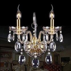 Nowe luksusowe lampy kryształowe ściany darmowa wysyłka na ścianie światła sypialnia lampki nocne ściany kinkiet świeca 2 głowice oświetlenie schodów oprawy w Wewnętrzne kinkiety LED od Lampy i oświetlenie na