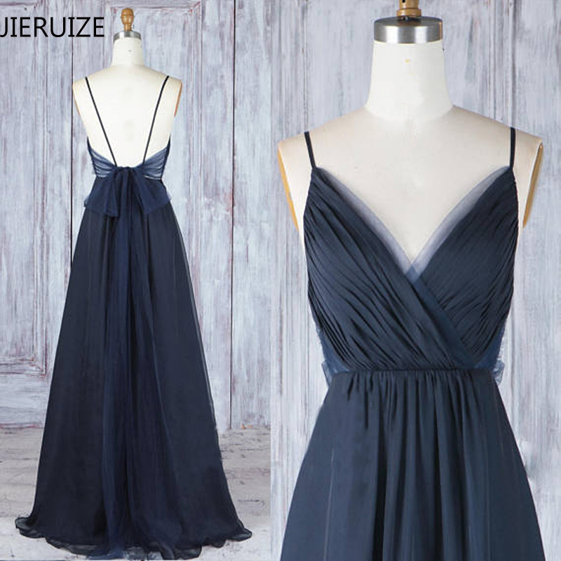 JIERUIZE Dark Navy Blue Backless Sexy   Evening     Dresses   Long 2018 V-neck Spaghetti Straps Low Back Prom   Dresses   Cheap Party   Dress
