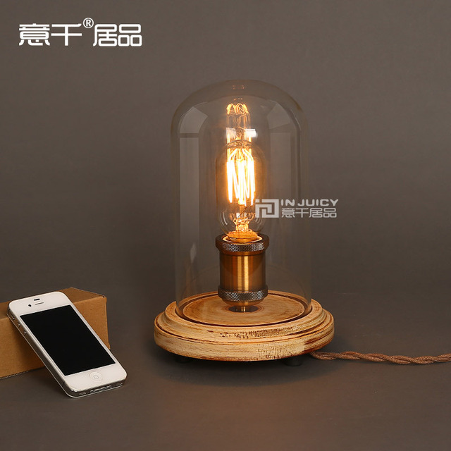 Vintage Industrial Table Light Glass Edison Bulb Wooden Desk Accent Lamp  E27 Cafe Bar Coffee Shop