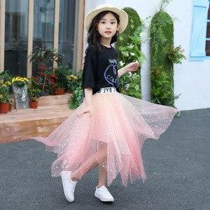 Image 5 - Summer Girls Skirts Sets Children Cotton T shirts + Star Lace Skirts Teenage Princess Outfits Fashion Korean Kids Clothing Sets