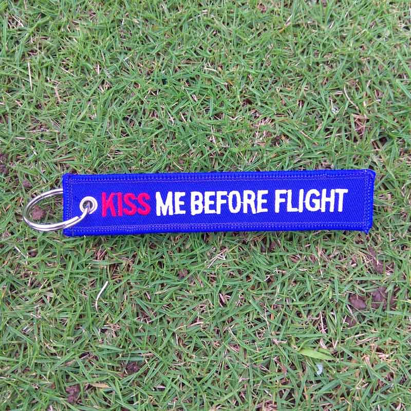 20pcs/lot Blue Kiss Me Before Flight Keychain Car Keyrings Fabric Embroidery Bag Charms For Women Aviation Special Luggage Tag