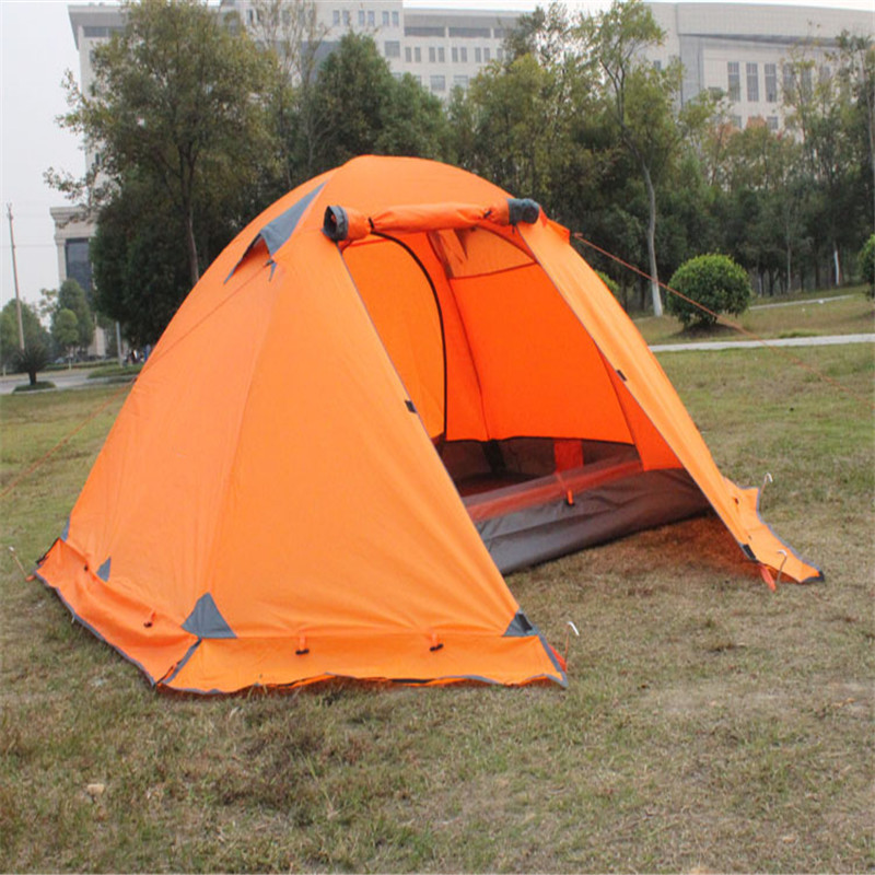 Hot  Outdoor Camping Double Layer 2 person Aluminum Rod Tent Waterproof Windproof High Strength Camping Tent hillman 3 4 person double layer ultralight silicon tent 2d silicone coated nylon waterproof aluminum rod outdoor camping tent