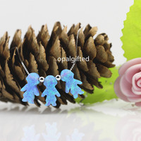 1pc Lot 8 5 13mm 3 Children Light Blue White Pink Synthetic Opal Girls And
