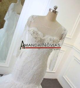 Image 2 - Новый дизайн, свадебное платье с длинным рукавом и вырезом из бисера, кружевное, Русалка, настоящее Аманда, новинка 2019