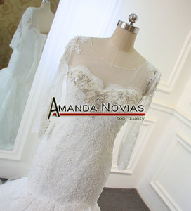 Image 2 - 새로운 디자인 긴 소매 페르시 neckline 레이스 인어 진짜 amanda novias 웨딩 드레스 2019 vestido de noiva