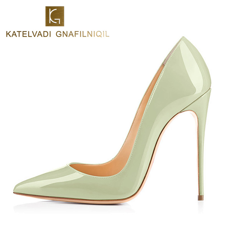 New Apple Green Shoes Woman 12CM High Heels Autumn Shoes Women Pumps Patent Leather Sexy Shoes
