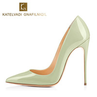 New Apple Green Shoes Woman 12CM High Heels Autumn Shoes Women Pumps Patent Leather Sexy Shoes For Women Heels Party Shoes K 052