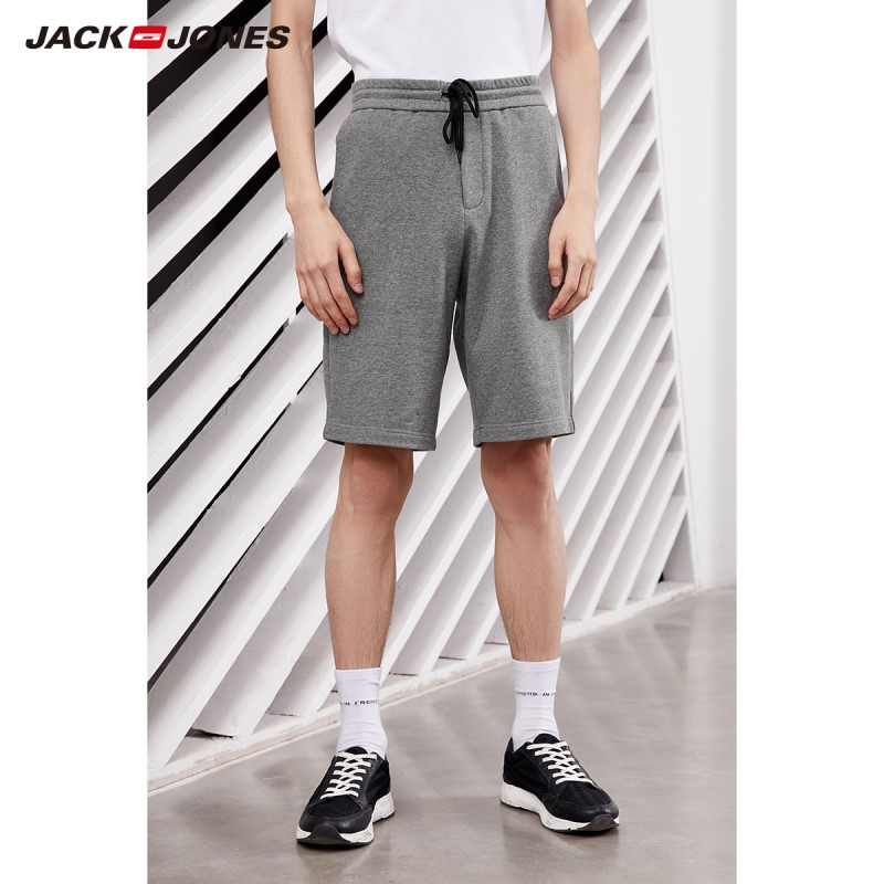 JackJones Men's Embroidered Waist Drawstring Loose Fit Cotton Sports Style Shorts|219115505