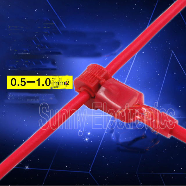 freeship100x RED 22 18 AWG T TAPS & MALE WIRE CONNECTORS SPLICE ...