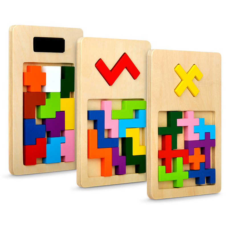 Mitoys Colorful Wooden Puzzle Tangram Brain Teaser Puzzles