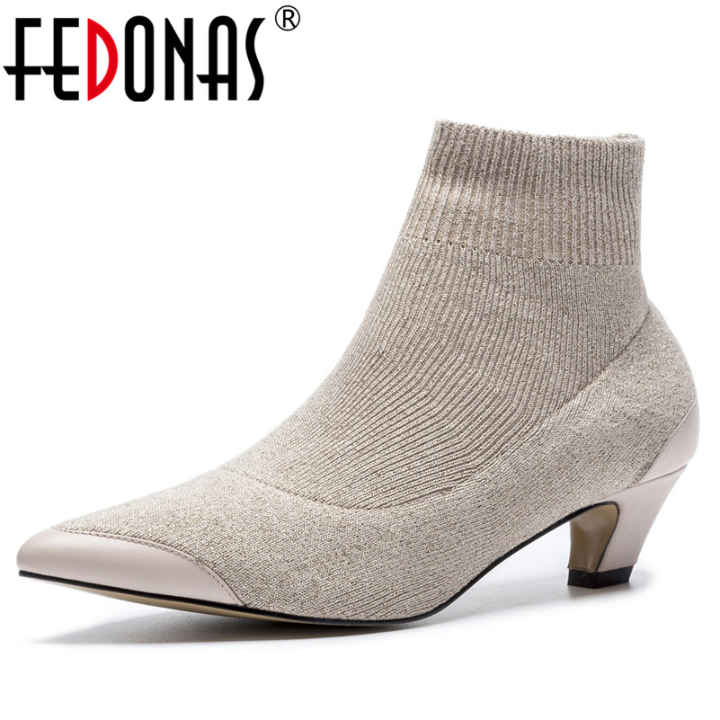 FEDONAS Fashion Concise Design Pointed Toe Sexy High Heel Ankle Boots for Women Autumn Winter Shoes Woman Office Pumps concise flock and round toe design pumps for women