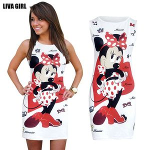 2017 New Summer Fashion Women Dress Cute Cartoon Character Printed Sleeveless Sheath Bodycon Mini Vestidos Party Sexy Dresses(China)