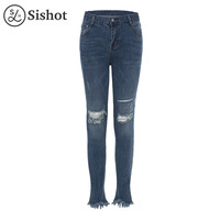 Sishot Women Casual Jeans 2017 Autumn Winter Light Blue Denim Pencil Pants Fashion Tassel Hole Pocket
