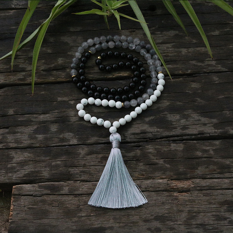 100% 8mm, 6mm, 4mm, Natural Beads, Rain Cloud Crystal,Onyx,JapaMala,Yoga Necklace, Spiritual Jewelry, Meditation, 108 Mala Bead-in Power Necklaces from Jewelry & Accessories