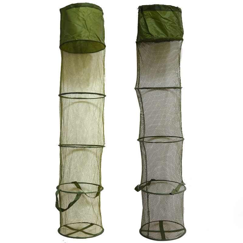 5 Layers Collapsible Long Fishing Net Cage Shrimp Minnow Fishing Bait Trap Dip Net Cages 140x30cm Fishing Accessories fishing basket creel 3 layer multicolored nylon collapsible drawstring bottom nets cage for shrimp crab lobster outdoor fishing
