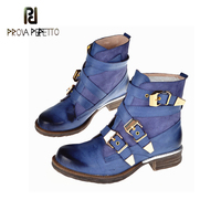 Prova Perfetto Spring Fall Leather Buckle Ankle Boots For Women Round Toe Squared Low Heels Shoes