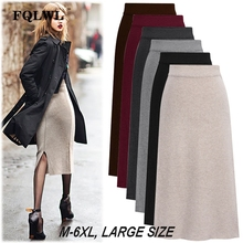 FQLWL High Waist Knitted Sweater Midi Skirts Womens Plus Size Skater Bodycon Sexy Skirt Female Ladies Autumn Winter Warm Skirts