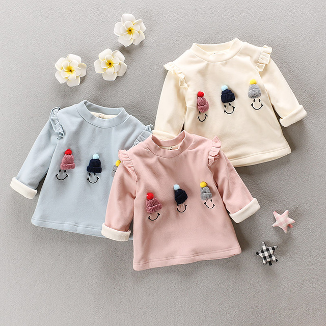 Autumn and winter female child 2016 new baby plus velvet thickening double layer t-shirt basic shirt baby plus velvet small 100%