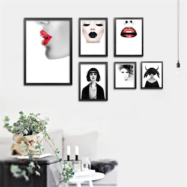Black wall art canvas posters painting figures art print picture fashion girls wall pictures for bedroom
