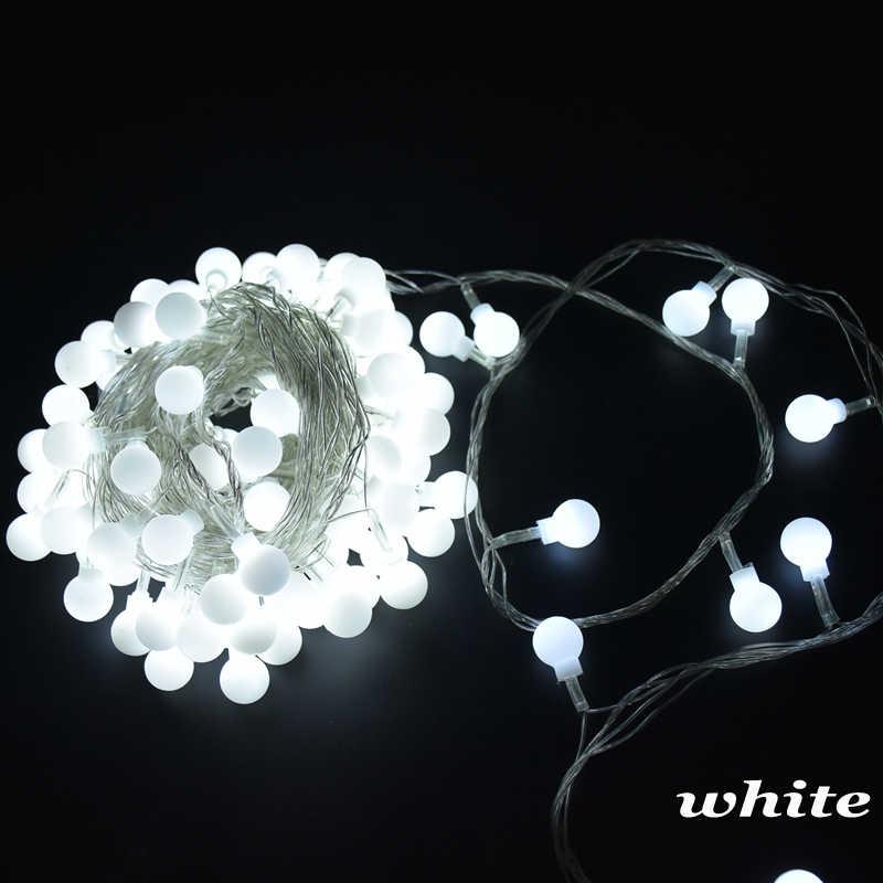 110 В 220 В 6 м 10 м 20 м 30 м 50 м матовый шар светодиодный свет шнура Рождественская гирлянда для праздничной вечеринки свадьбы дома наружное украшение