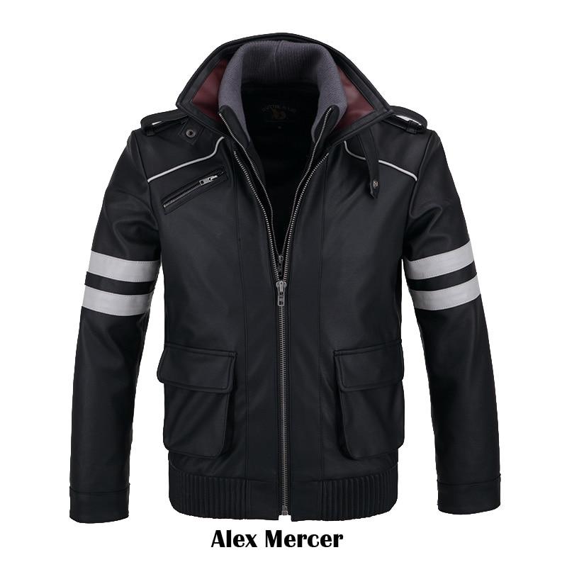 COSFANS Double Collars!Game Prototype Alex Mercer PU Leather Jacket Winter Coat Halloween Cosplay Costumes For Women/Men M-4XL