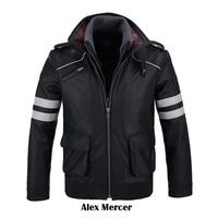 COSFANS Double Collars!Game Prototype Alex Mercer PU Leather Jacket Winter Coat Halloween Cosplay Costumes for Women/Men M 4XL