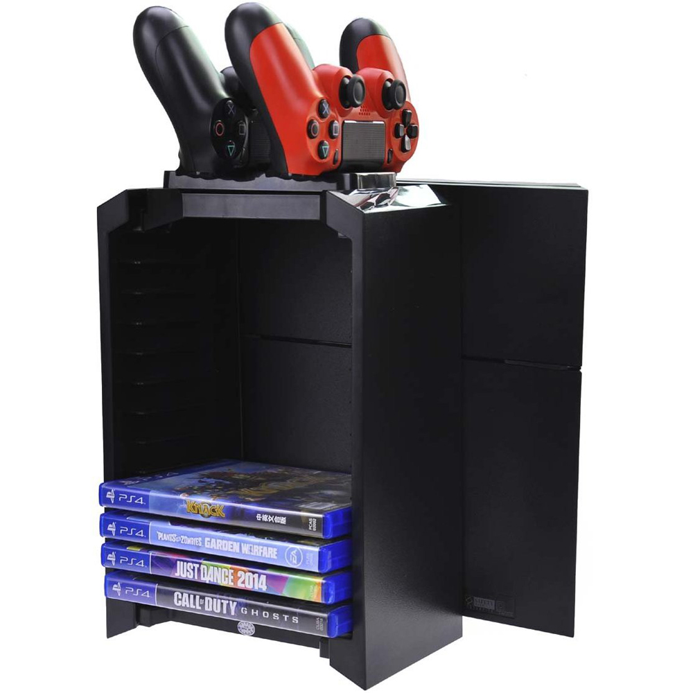 PS4 Charger Storage Tower with 12 Game Blue-ray disc storage and Dual Charger for PlayStation 4 Console