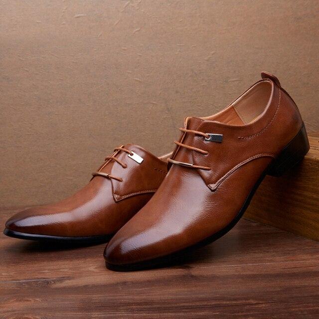 2016 люксового бренда мужчин бездельников кожа мужской обуви башмаки, Кружева-up баллок бизнес люди оксфорды обувь мужская обувь