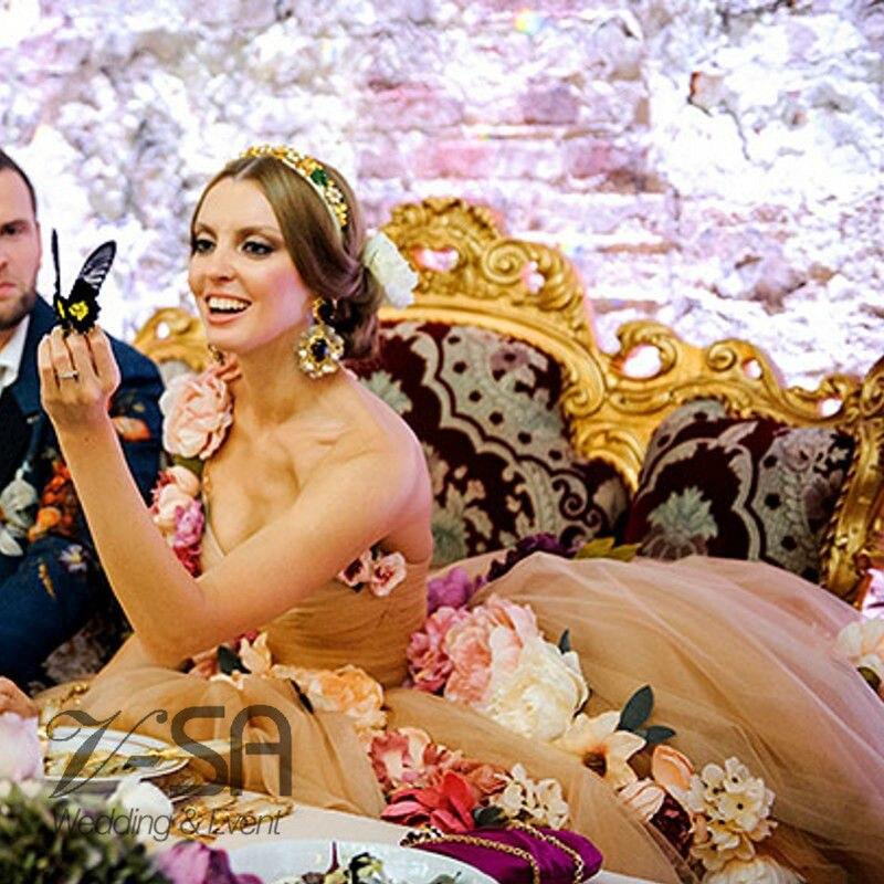 Fashion Ke Depan Nude Floral Wedding Dress Handmade Bunga Wedding Dresses  Wanita Gaun Pengantin Nude Gaun Timur Tengah Arab Saudi di Wedding Dresses  dari ... 99a76706d7d4