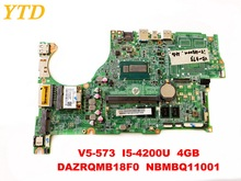 Original for ACER V5-573 laptop motherboard V5-573 I5-4200U 4GB DAZRQMB18F0 NBMBQ11001 tested good free shipping
