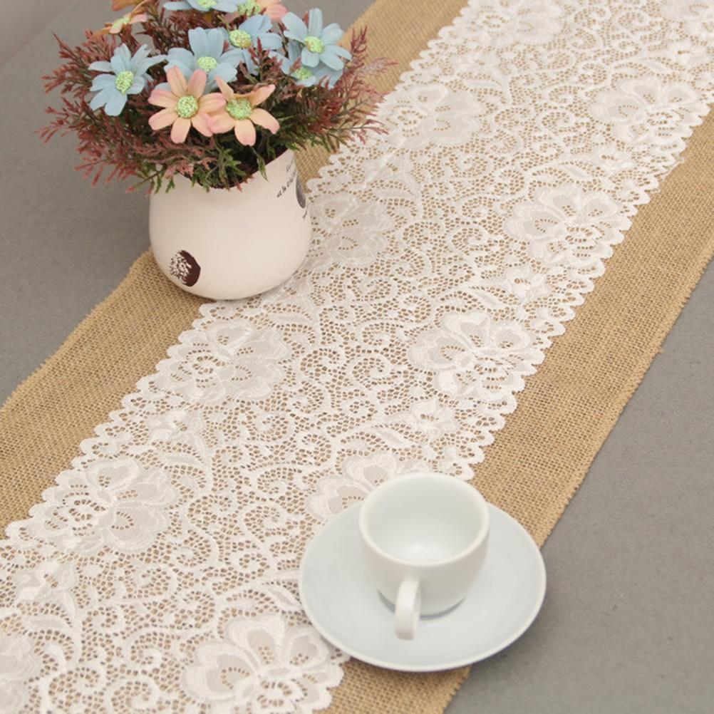 Luxury burlap and lace table runner wedding decoration - Chemin de table en toile de jute ...
