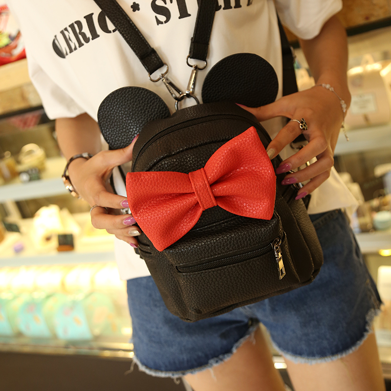 2018 New Mickey Backpack Pu Leather Female Mini Bag Women's Backpack Sweet Bow Teen Girls Backpacks School Bag Lady Shoulder bag(China)