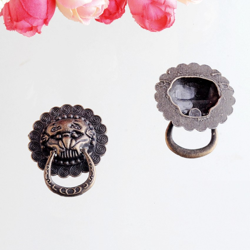 Free Shipping 10PCs Jewelry Wooden Box Pull Handle Dresser Drawer For Cabinet Door Round Antique Bronze Lion Face Carved 29mm