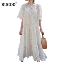 RUGOD 2018 Hot Sell New Fashion Loose Long Dress Women's Summer Dress Casual White Knitted Dot Hollow Out and Lace Dress Female
