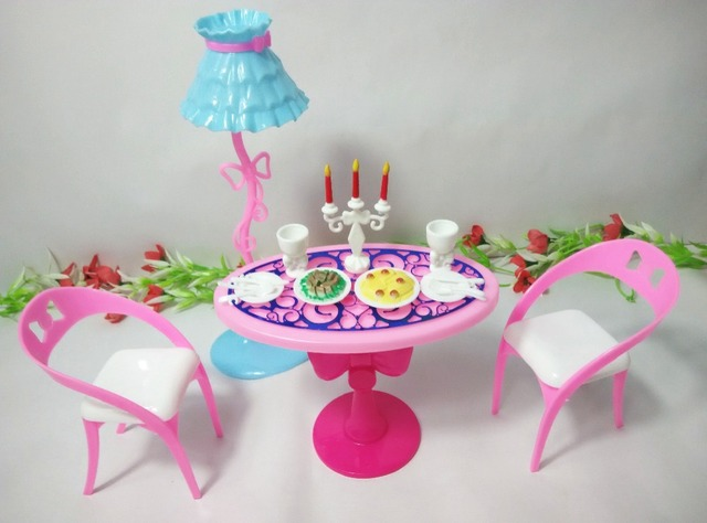 Dining Table Toys Furniture For Barbie Doll With Lamp Chairs Candle